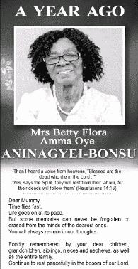 Mrs Betty Flora Amma Oye Aniagye-Bonsu